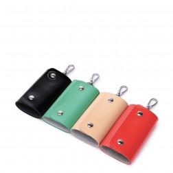 Leather candy color key bag Green