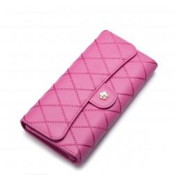 NUCELLE embroidery cowhide leather wallet Rose Red