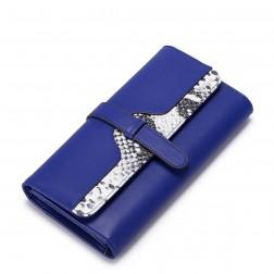 Serpentine cowhide wallet Rose blue