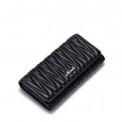 Sheepskin Leather Purse Soft Black