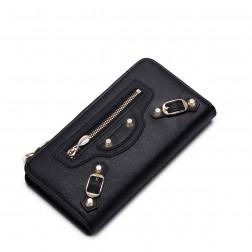 Punk style classic fashion cowhide leather wallet Black