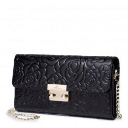 Retro rose embossing leather bag Black