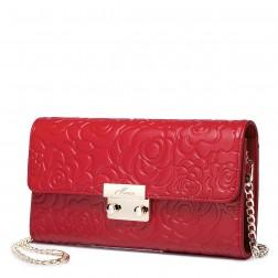 Retro rose embossing leather bag Red