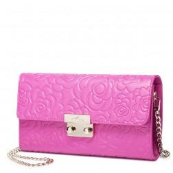 Retro rose embossing leather bag Pink
