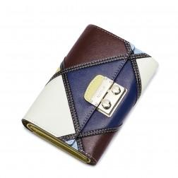 Women contrast color real leather wallet 070183-05