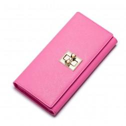 Colorful sweet women leather wallet Pink