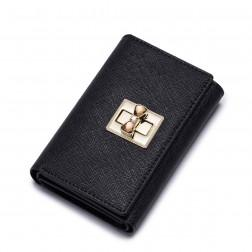 Colorful sweet women leather wallet Black