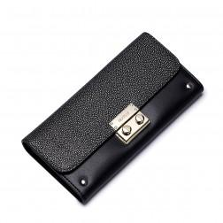 NUCELLE Genuine leather long style wallet Black