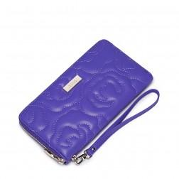 Lady Classical camellia leather long wallet Purple