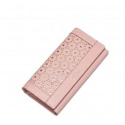 Delicate genuine leather women purse Pink