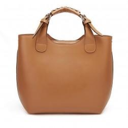 Genuine leather shoulder bag brown