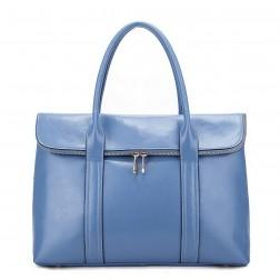 Elegant soft leather handbag blue