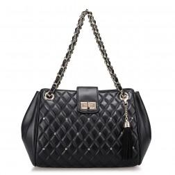 Quilted chain strap bag black