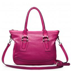 Elegant leather shoulder bag pink