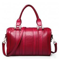 Leather shoulder bag red