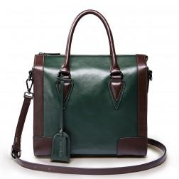 Genuine leather shoulder bag green