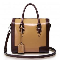 Women's genuine leather handbag camel