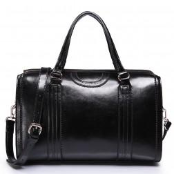 Genuine leather cross-body bag black