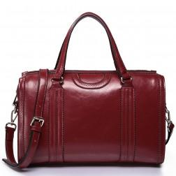 Elegant leather handbag red