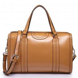 NUCELLE Genuine leather handbag camel