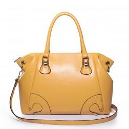 Stylish leather shoulder bag apricot