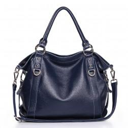 Genuine leather tote bag blue