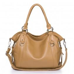 Genuine leather shoulder bag apricot