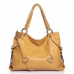 Women's stylish leather handbag apricot