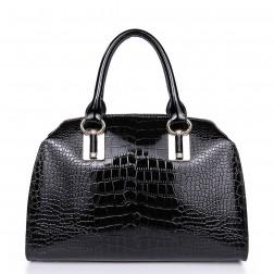 Leather handle bag black