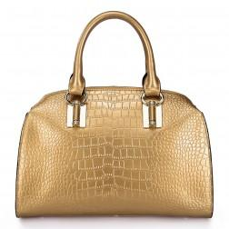 Genuine leather shoulder bag gold