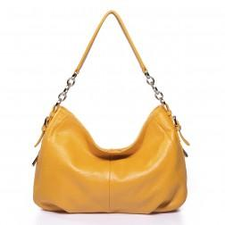 Quilted chain strap hobo bag yellow