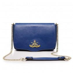 Women's genuine leather bag blue