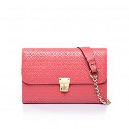 Leather evening bag red