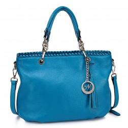 Long strap leather shoulder handbag blue