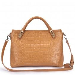 Leather crocodile pattern handbag apricot
