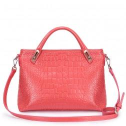Crocodile pattern leather handbag red