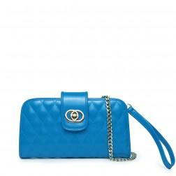 Women's leather evening handbag blue