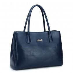 Classic genuine leather handbag blue