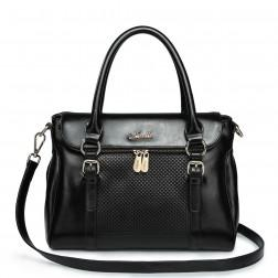 Real leather handbag black