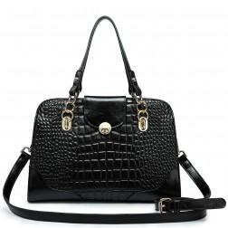 Crocodile pattern leather handbag pink