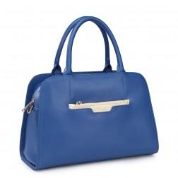 Genuine leather evening bag blue