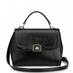 Genuine leather evening handbag black