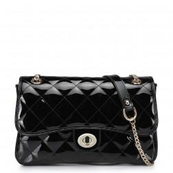 Quilted chain strap clutch red
