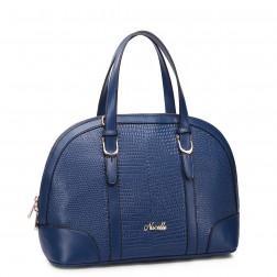 Women's leather handbag silver