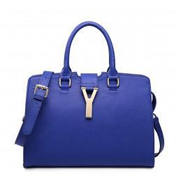 Real leather shoulder bag blue