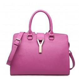 Genuine leather shoulder bag purple