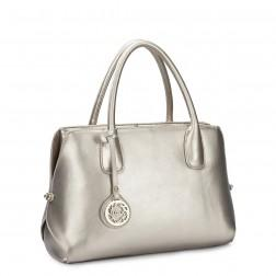 Genuine leather handbag beige