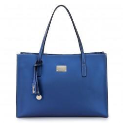 Leather vertical type ladies handbag black