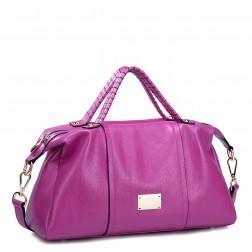 Genuine leather shoulder bag pink