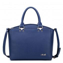 Women's leather tote bag blue